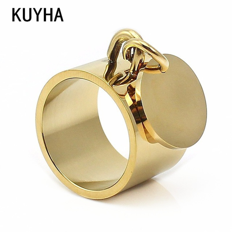 Engraving big wide Gold Color Plain Band Midi customizing finger rings with round metal charm tag customized bague