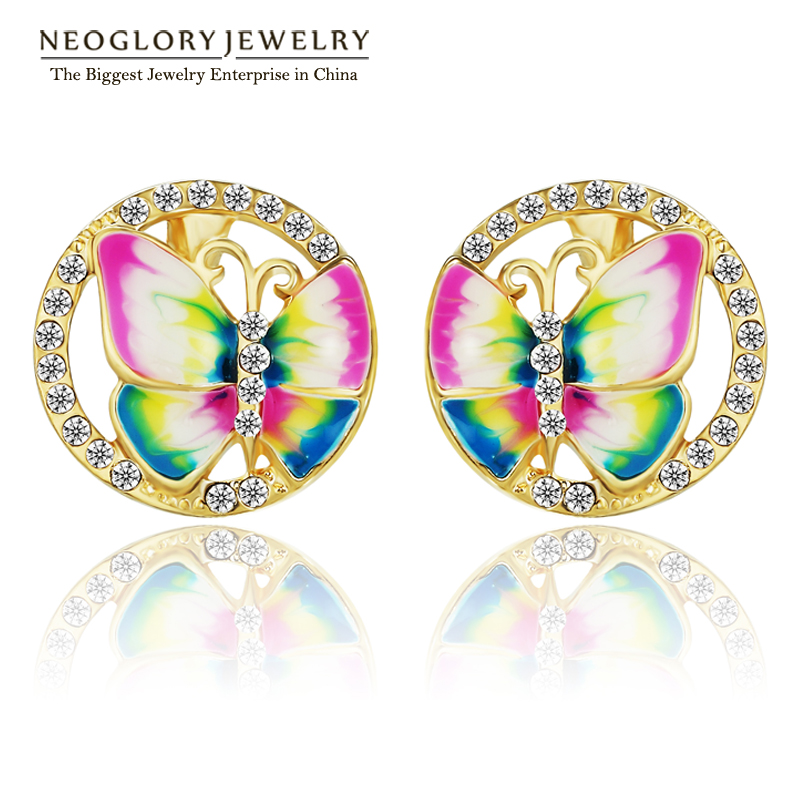 Neoglory Enamel Butterfly Charm Cute Stud Earring Teen Girl Bridesmaid Gift Fashion Cute Mother Jewelry 2017 New ENA1 JS6 But-e
